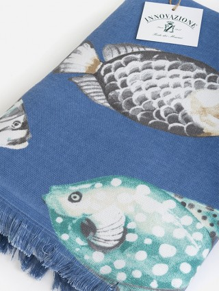 Fish fantasy bluette beach towel - detail