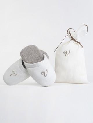 Pantofole Spugna Cifrate Panna
